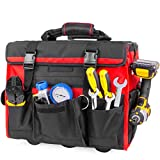 XtremepowerUS Rolling Tool Bag Organizer with Telescoping Handle 18' Wide Storage Organizer Bag Heavy Duty with Wheels