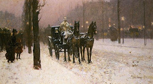Cab Street Scene - The Museum Outlet - Street Scene with Hansom Cab, 1887 - Poster (Medium)