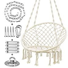 WBHome Hammock Chair Macrame Swing with Hanging Hardware Kit, Handmade Knitted Cotton Rope, for Indoor Outdoor, Max Weight 265 Lbs