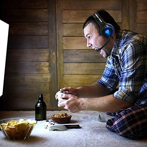[スポンサー プロダクト]Pacrate ゲーミングヘッドセットPS4 ノイズキャンセリング マイク付き LEDライト クリスタル ステレオ サウンド ゲーム用ヘッドホン高音質 重低音強化 伸縮可能 軽量 コンピューターとラップトップとMacとPC用 緑