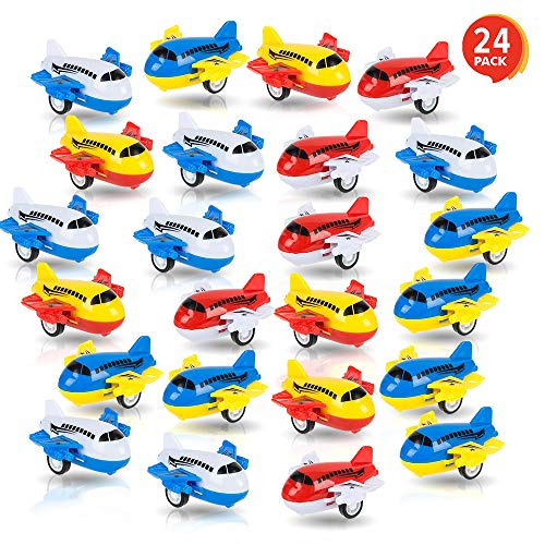 ArtCreativity Pullback Airplane Toys for Boys and Girls, Set of 24, Colorful 2 Inch Pull Back Plane Toys for Kids, Great…
