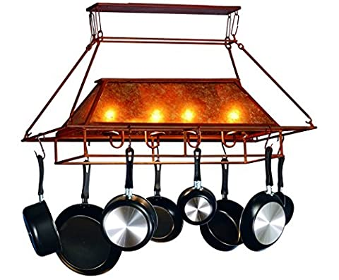 Meyda Tiffany Custom Lighting 77830 Simple Mission 2-Light Pot Rack, Rust Finish with Amber Mica - Lighted Pot Rack