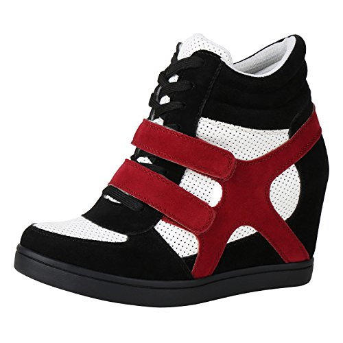 Sport Baskets Napoli Base Jennika Blanc mode Dames Rouge Noir Confortables Coins De apfE4p