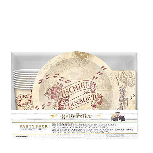 Harry Potter Hogwarts Paper Party Pack Set, Cups, Plates and Napkins, 60-Piece, Multicolored (Harry Potter Plates And Napkins)