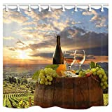 DYNH Rustic Rural Farmland Shower Curtain, Grape Cheese and Wine in Vineyard Sunshine Natural Photography Fabric Bath Curtains for Bathroom, Waterproof Drapes Accessories with Hooks, 69X70 Inch