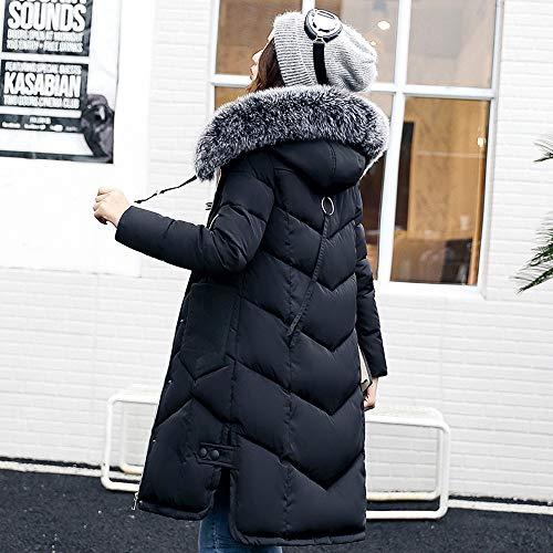 Puffer Outerwear Loose Fur Warm Padded Pocket Jackets Parka Winter vpass Casual Zipper Coats Women Long Cotton Black Hooded AqxBX