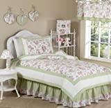 Sweet Jojo Designs 4-Piece Riley's Roses Chenille Floral Children's Bedding Girls Twin Set
