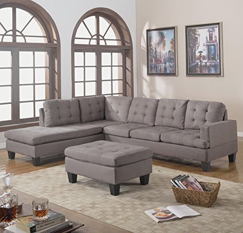 Casa Andrea Milano 3pc Modern Reversible Grey Charcoal Sectional Sofa Couch with Chaise and Ottoman