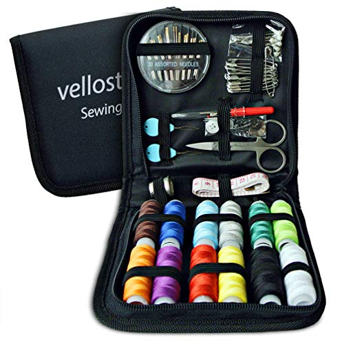 Sewing Kit for Emergency Clothing Repairs. Upgraded Portable Mini Mending Button Travel Sew Kits for Kids & Adults | College Sowing Pack w/Improved Threads & Needles. Medium Size, Black