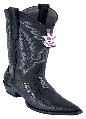 Ladies Genuine Toe Skin Black Leather Snip Boots Teju Western wEr5TXwSqx