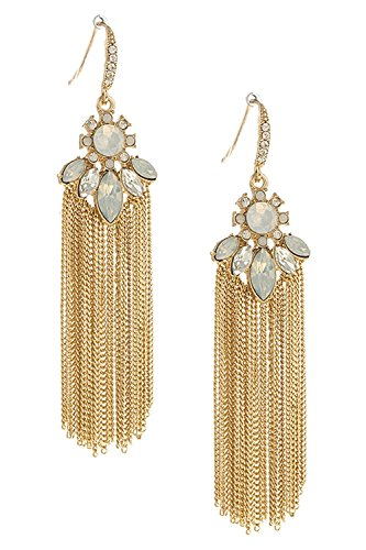 [BAUBLES & CO MIXED COLORFUL CRYSTAL CHAIN FRINGE EARRINGS (Gold/White)] (Elephant Ears And Nose Costume)