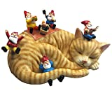 By Mark & Margot - Outdoor Garden Gnomes Picnic Sleeping Cat Statue - Beautiful Funny Novelty Gift