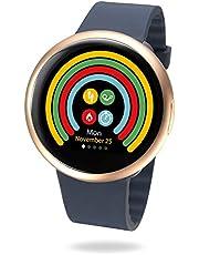 """MyKronoz ZeRound2 - Smartwatch con Pantalla táctil a Color, micrófono Incorporado y Altavoz de 1.22"""", Color Oro Rosa y Azul"""