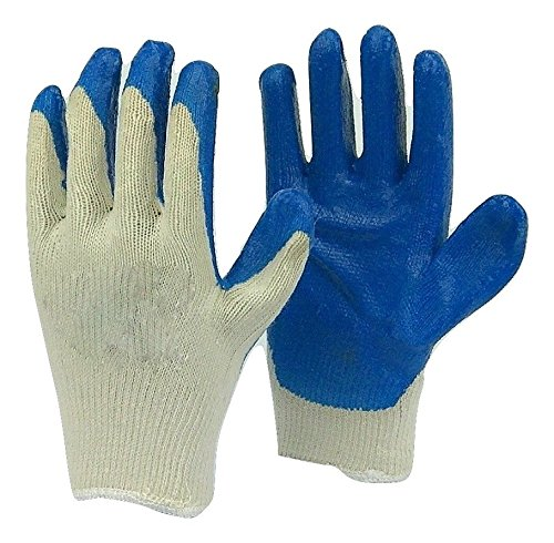 Deluxe String Knit Palm Rubber Dipped Gloves, Blue, 12 Pairs, (Latex Dipped Work Gloves)