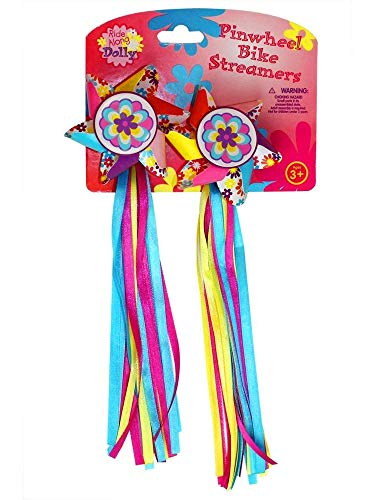 Ride Along Dolly Bike Handlebar Streamers - Kids Bicycle Pinwheel Streamers - Easy Attachment to Cycles Handlebars