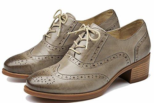U-lite Kvinna Mid-häl Perforerade Spets-up Vingspetsarna Nära Front Läder Platta Oxfords Vintage Oxford Skor Grå