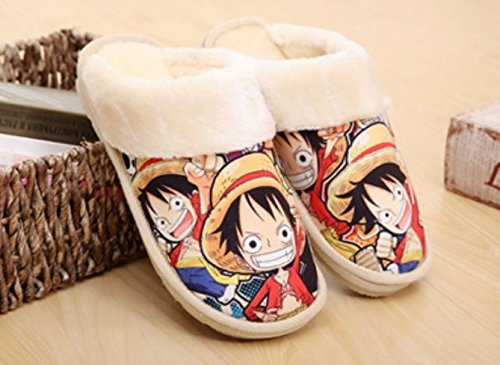 Cosplay Anime One Piece Luffy Men 39 S Women 39 S Slippers Autumn And Winter Thick Home Warm Cotton