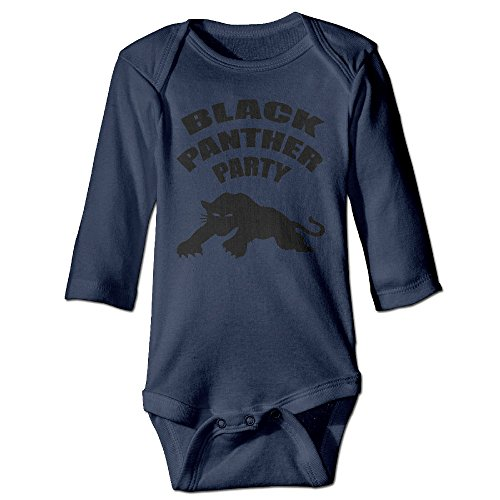 LEAF Panther Party Long-Sleeve Romper Playsuit For 6-24 Months Infant Size 12 Months Navy