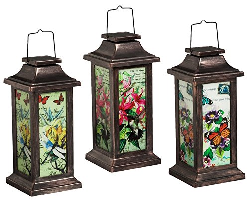 - New Creative Fluttering Garden Friends Solar Lantern, 3 Piece Set, Butterfly, Dragonfly, and Hummingbird