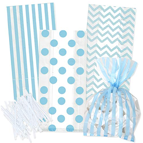 100 Light Blue Cellophane Bags with Twist Ties for Baby covid 19 (Baby Shower Treat Bags coronavirus)