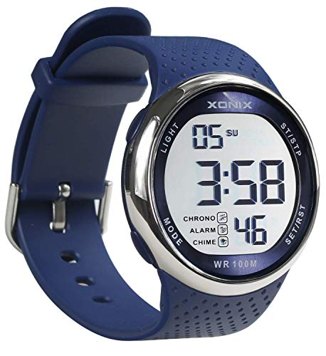 100m Dive Watch (TOMORO Vogue Men's 100M Waterproof TPU Resin Band Large Digits Digital Dive Outdoor Sports Watch (Can Be Pressed Underwater) (Blue))