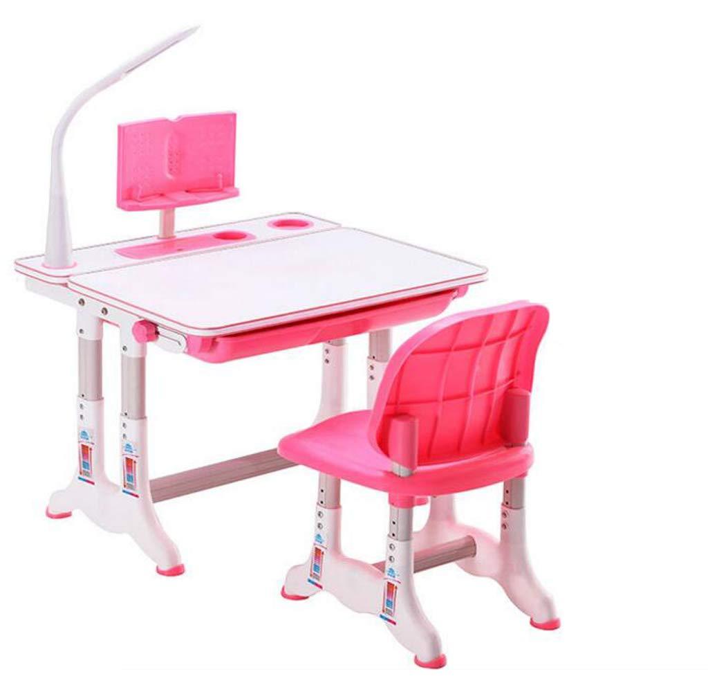 GGQF Scrivania per Bambini Altezza Regolabile Computer Ufficio Studio scrivania e Sedia Set rosa,rosa