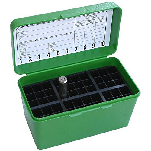 (Deluxe Ammo Box 50-Round, w/Handle, 7mm Rem Mag 300 Win Mag, Green)