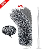 Microfiber Hand Duster, Telescopic Bendable Anti Static Flexible Cleanable Duster for Ceiling Fans Shutters Blinds (Gray)