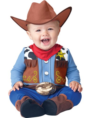 InCharacter Baby Boy's Wee Wrangler Cowboy Costume, Tan/Blue, X-Small (Baby Cowboy Costume)