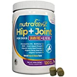 GRAIN FREE Hip & Joint Supplement with Organic Hemp Oil For Dogs and Glucosamine Chondroitin, Turmeric, MSM, Green Lipped Mussel + BioPerine for Arthritis Pain Relief + Mobility All Natural 120 Chews