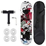"""ANCHEER 31"""" Complete Skateboard, 7 Layer Canadian Maple Skateboard with ABEC-9 Bearing with Four Backup Wheels, Storage Bag and Tool"""
