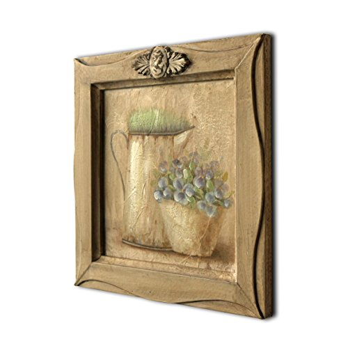 "CVHOMEDECO. Rustic Antique Hand Painted Wooden Frame Wall Hanging 3D Painting Landscape Art Décor, Plant and Jar Design, 11"" x 11"""