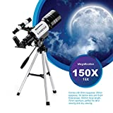 Aomekie 300x70mm Tabletop Refractor Astronomy Telescope for Beginners with Tripod, Kids Gift