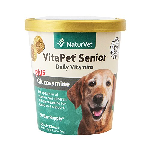 NaturVet VitaPet Senior Daily Vitamins Plus Glucosamine for Dogs, 60 ct Soft Chews , Made in USA