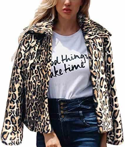 ae4f9708885 UONQD Womens Warm Artificial Wool Coat Lapel Jacket Winter Parka Outerwear