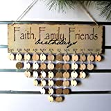 Plaque Sign DIY Calendar Wood Birthday Reminder Wonderful Way to Keep Track of Family FriEnds Birthdays with 50pcs Round Discs