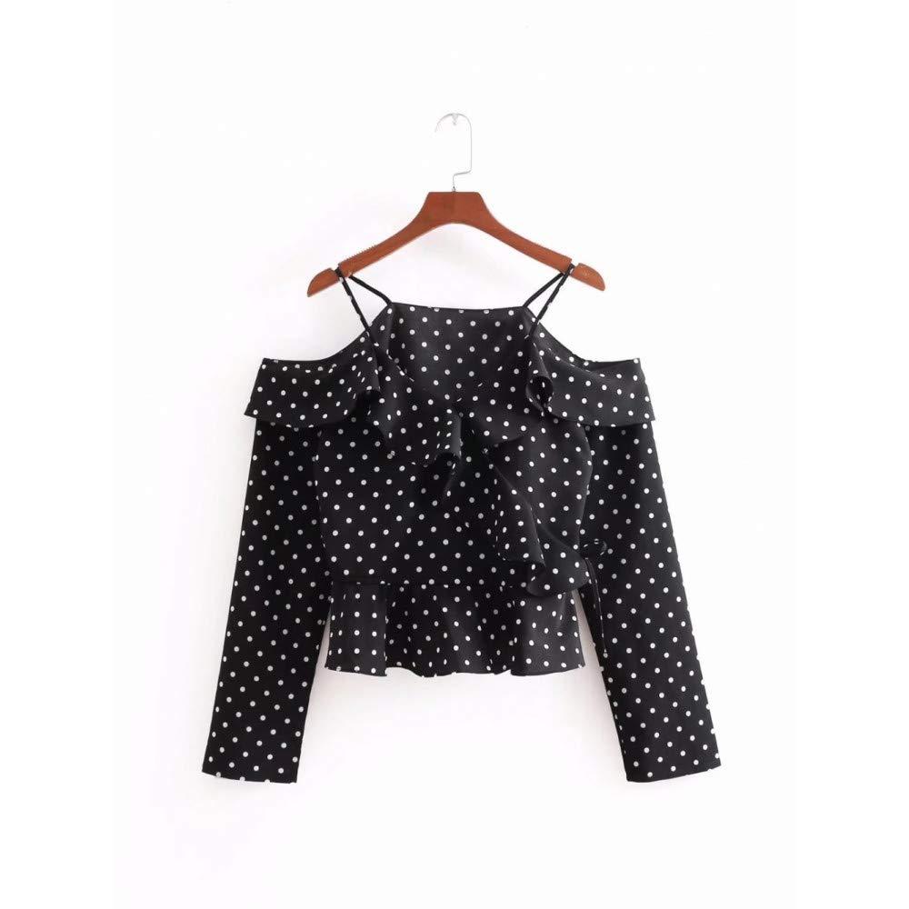 S Cnsdy Chemises Femme hauts Print Sling Chemises à Manches Longues Débardeurs en Vrac Chemises Femme