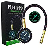 "Automotive : RHINO USA Heavy Duty Tire Pressure Gauge (0-75 PSI) - Certified ANSI B40.1 Accurate, Large 2"" Easy Read Glow Dial, Premium Braided Hose, Solid Brass Hardware, Best For Any Car, Truck, Motorcycle, RV"