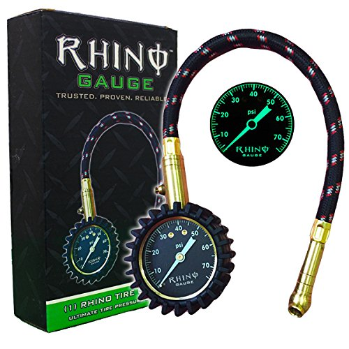 RHINO USA Heavy Duty Tire Pressure Gauge (0-75 PSI) - Certified ANSI B40.1 Accurate, Large 2' Easy Read Glow Dial, Premium Braided Hose, Solid Brass Hardware, Best For Any Car, Truck, Motorcycle, RV
