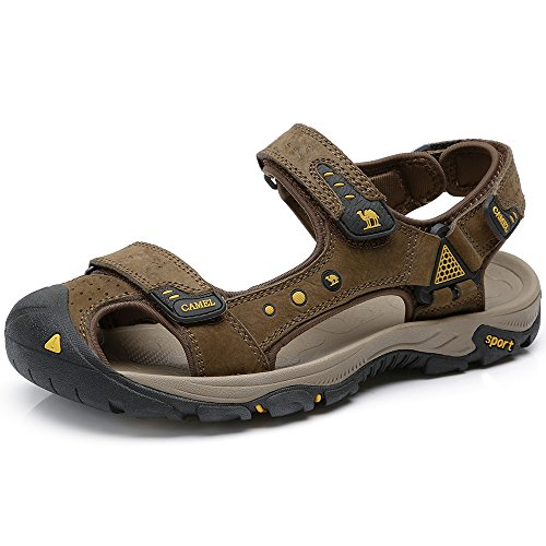 Camel Apparel - Camel Men's Summer Swiftwater Fisherman Genuine Leather Comfort Cowhide Sports Open Toe Shock Absorbing Strap Sandal for Men (39, Coffee)