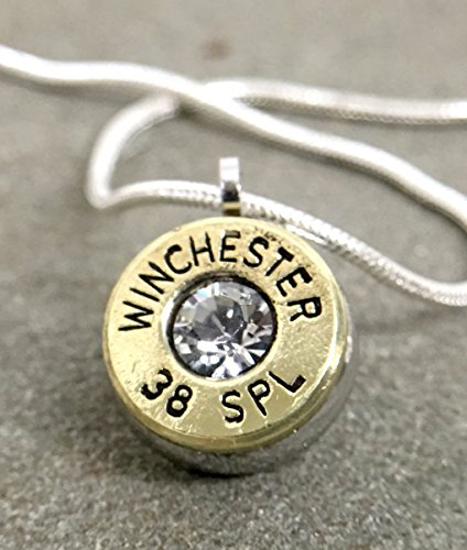 38 Special Bullet Necklace Pendant Authentic Shell Casing Jewelry Swarovski Clear Diamond and 18
