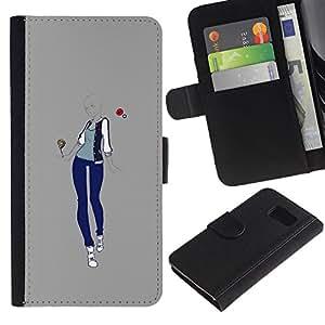 Paccase / Billetera de Cuero Caso del tirón Titular de la tarjeta Carcasa Funda para - fashion woman grey love design style - Samsung Galaxy S6 SM-G920