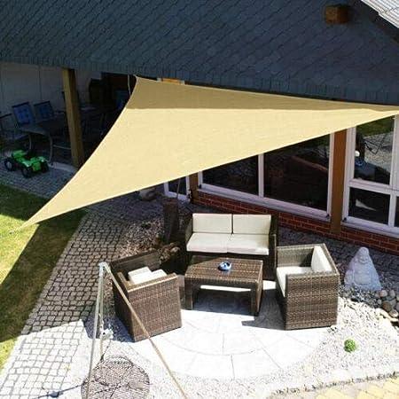FDN Lona Impermeable Refugio Triángulo del Sol Protección Parasol Canopy al Aire Libre Jardín Patio Piscina Toldo de Vela Toldo Camping Sombra de Tela Lona de Protección (Color : Beige 3x3x3m): Amazon.es: