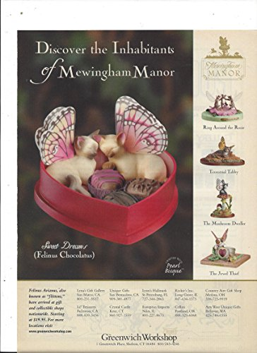 MAGAZINE AD For 2002 Greenwich Workshop Felinus Aviannus Flittens - Shops Greenwich