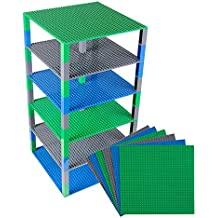 """Strictly Briks Classic Baseplates 10"""" x 10"""" Brik Tower by 100% Compatible with All Major Brands   Building Bricks for Towers, Shelves and More   6 Baseplates & 50 Stackers in Blue Green & Gray"""