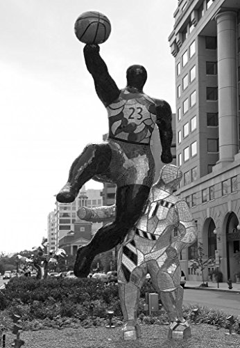 24 x 36 B&W Giclee Print of Colorful art statues, New York Ave., NW, in downtown Washington, D.C. 2010 Highsmith - Downtown U Ave