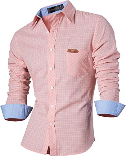 jeansian Men's Long Sleeves Slim Dress Shirt 8615 LightPink S