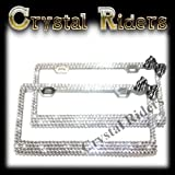 PAIR OF 2 front and back/rear Bling License Plate Frame z...