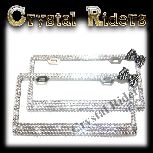 - PAIR OF 2 front and back/rear Bling License Plate Frame zebra animal print Bow with 500 Crystals Clear Metal Holder Sparkly Sparkle Custom Hand Made Hand Crafted 2 SET TWO Kitty