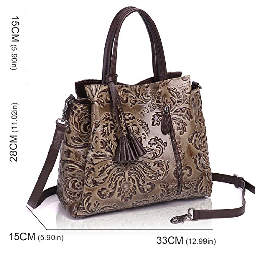 Tote Satchel Handbags Bags Designer Light Leather Cow Soft Women Shoulder for Brown Handbags APHISONUK Grey wIAz88